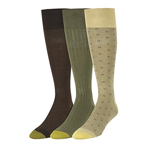 Gold Toe Men's Over The Calf Dress Socks, 3 Pairs, camel/olive/brown, Shoe Size: 6-12.5 ()