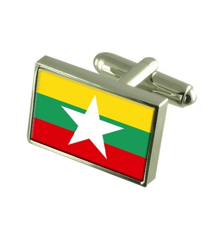 Birmanie Boutons de manchette drapeau avec boîte de souvenir gravé