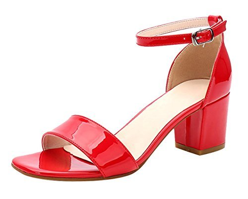 Patent Red Sandals (CAMSSOO Women's Classic Square Peep Toe Strappy Ankle Buckle Shoes Chunk Low Heeled Pumps Sandals Red Patent PU Size US9 EU41)