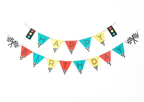 Vintage Race Car- Birthday Banner | Happy Birthday | Banner | Sign | Birthday Decoration | Race Car Party | Boy Birthday Party Decorations | Kids Party | Checkered Banner | Modern Kids Party