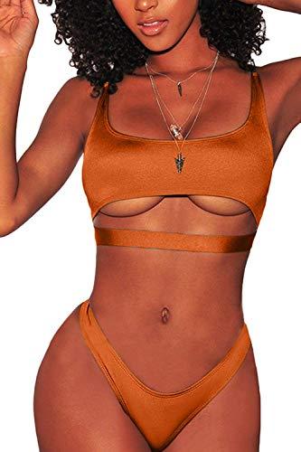 LEISUP Women's Sexy Two Piece Swimwear Sporty Top Cheeky Bottom Bikini Sets Orange S