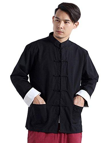 26022321f Idopy Men`s Chinese Traditional Linen Cotton Tai Chi Kung Fu Mandarin  Collar Frog-