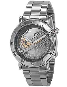 Mens Silver Analog Mechanical Skeleton Dial Steel Band Wrist Watch