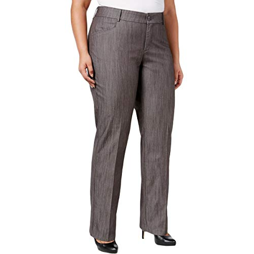 Lee Platinum Label Womens Plus Mid-Rise Textured Trouser Jeans Gray 16WP ()