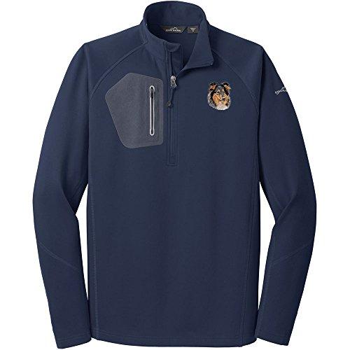 - Cherrybrook Dog Breed Embroidered Eddie Bauer Mens Half Zip Performance Fleece Jacket - Medium - River Blue - Collie