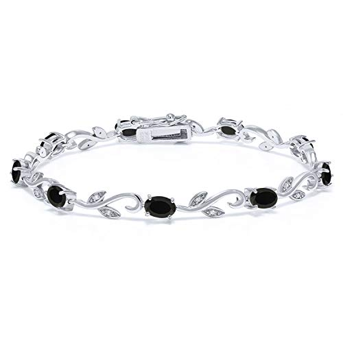 Gem Stone King 925 Sterling Silver Black Onyx and Diamond Greek Vine Bracelet 3.64 Ct Gemstone Birthstone 7 Inch