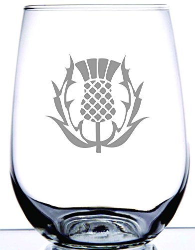 Scottish Thistle Stemless Wine Glass | National Symbol of Scotland and Celtic Regions | Perfect for Scot Friends and Family