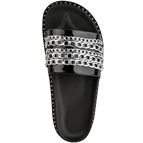 heelberry Farrah Deslizables Sin Correas Mujer Verano Thirsty Talla Patente Sandalias Cadena Pantuflas Fashion Negro Z5Xw6Tqxw