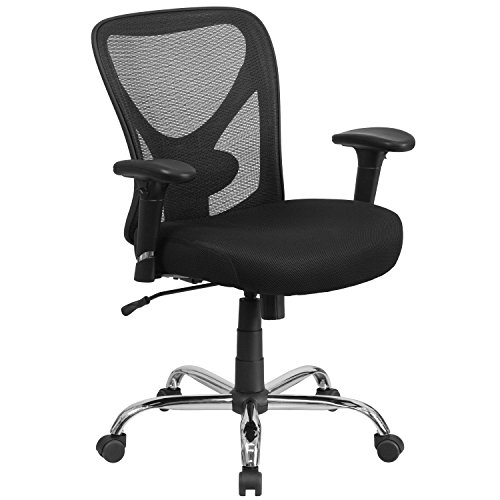 Flash Furniture HERCULES Series Big & Tall 400 lb. Rated Black Mesh Swivel Task Chair with Height Adjustable Back and Arms - Office Desks Furniture