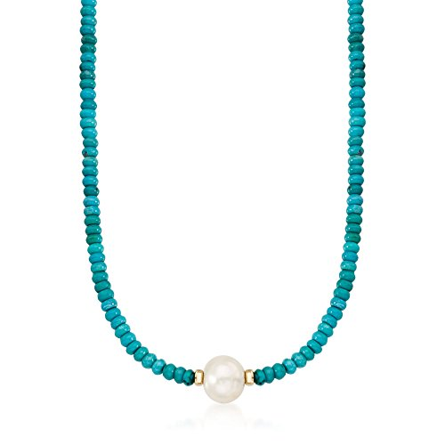 (Ross-Simons Turquoise Bead and 12-13mm Cultured Pearl Necklace in 14kt Yellow)