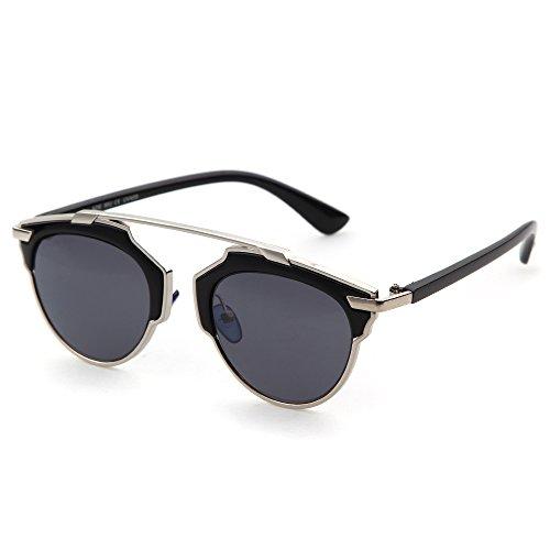 ADEWU Women's Metal Frame Plastic Leg Mirror Sunglasses Silver - Looking Prescription Best Glasses