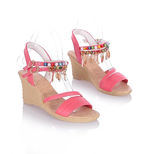 VogueZone009 Womens Open Toe High Heels PU Soft Material Solid Sandals with Wedge Red z3GKUlWwsy