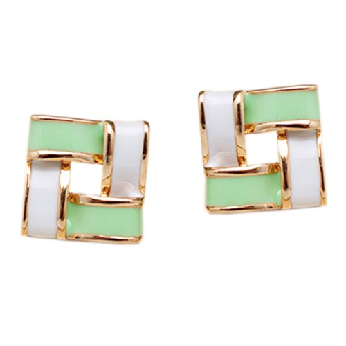 Latigerf Gold Plated Non-Pierced Clip on Square Earring Clips for non Pierced Ears Enamel (Green Enamel Clip)
