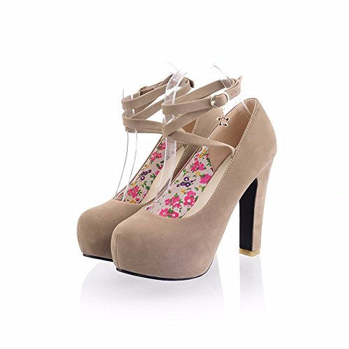 Waterproof shoes with high heels rough candy color ring bandage Shoes Size,Beige,35-YU&XIN by YU&XIN-Spring and Autumn Women's Shoes