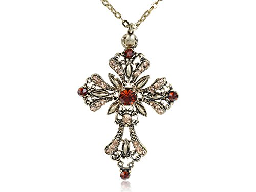 Alilang Antique Golden Tone Topaz Colored Rhinestones Celtic Holy Cross Pendant Necklace