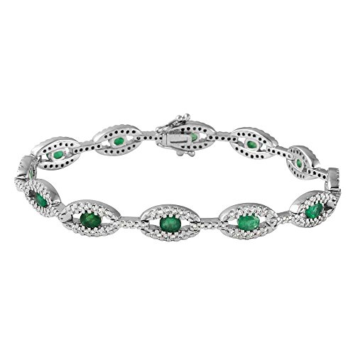 14K White Gold Emerald & Emerald Diamond Bracelet