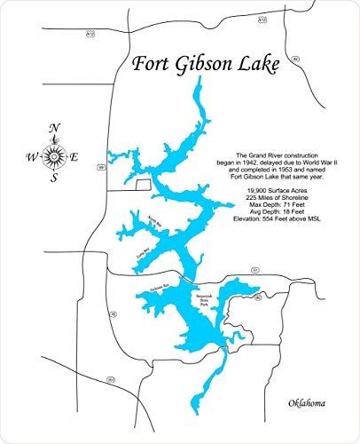 ft gibson lake map Amazon Com Fort Gibson Lake Ok Standout Wood Map Wall Hanging ft gibson lake map