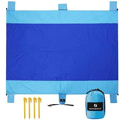 SONGMICS Sand-Resistant Beach Blanket Mat 7 x 9 Extra Large Water-Resistant Picnic Mat Quick-Dry Parachute Nylon Pocket Blanket with 4 Stakes for Picnic, Camping, Hiking