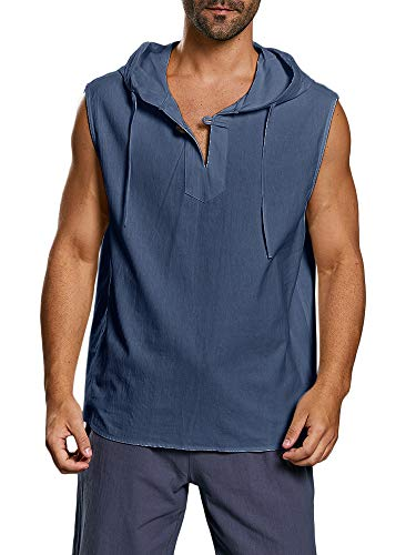 Taoliyuan Men Lace up Sleeveless Shirt Linen V Neck Casual Summer Beach Pool Party Yoga Tank Top (XX-Large, D-Blue)