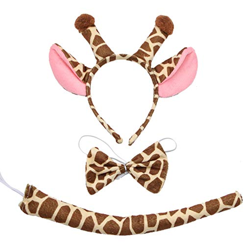 WSSROGY Giraffe Costume Headband Bowtie and Tail - Animal Costume Accessory Sets Ears and Tail Set ()