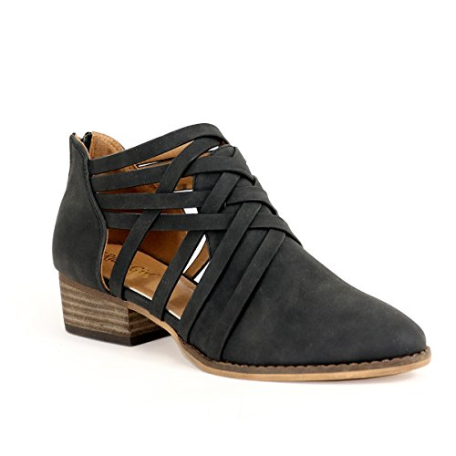 (Arider Women's Ankle Bootie Closed Toe Woven Strappy Weeve Criss Cross with Low Chunky Heel - Black 9)