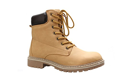 Forever Broadway-3 Womens Combat Lace Up Padded Outdoor Work Shoes Ankle Short Boots,10 B(M) US,Camel