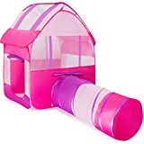 Kiddey Pink Children Playhouse Tent With Tunnel –Pops Up no Assembly Required– Large Kids Indoor & Outdoor House For Boys & Girls, Fits Up To 4 Children, Perfect Gift For Toddlers