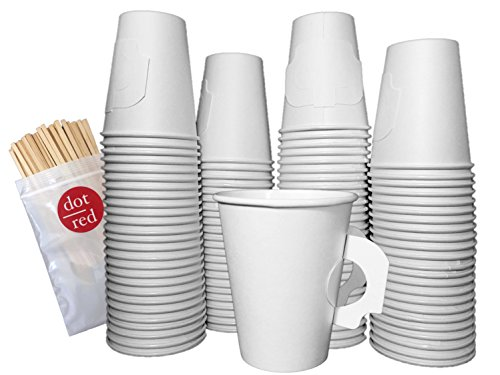 Dot Red - (100 Pack Each) Solo 8 oz. Coffee Cup with Handle - Leak Resistant Paper Hot Cup 378HW-2050, Dot Red 5.5
