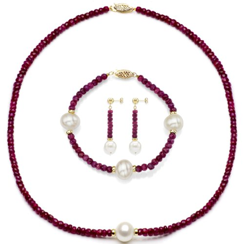 14k Yellow Gold 9-9.5m White Freshwater Cultured Pearl and 4-4.5mm Simulated Red Ruby Jewelry Set