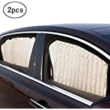 ZATOOTO Side Window Sunshades for Car - Baby Beige Sun Shades (2 Pcs) Magnetic Window Curtains Protects Your Baby and Older Kids from The Sun (Magnet Beige)