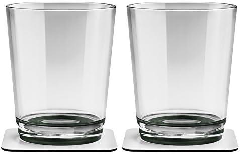 Silwy Magnetglas 250 ml mit Untersetzer 2er-Set grau