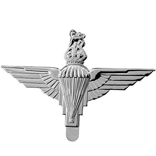 ZWJPW-WW2 I BRITISH PARATROOPER WHITE METAL CAP BERET BADGE KINGS CROWN SILVERY ()