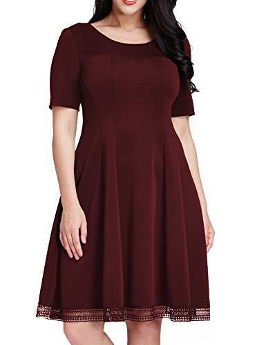 GRAPENT Women's Plus Size Skater A-Line Dress Crochet Hem Knee Length Maroon 3X