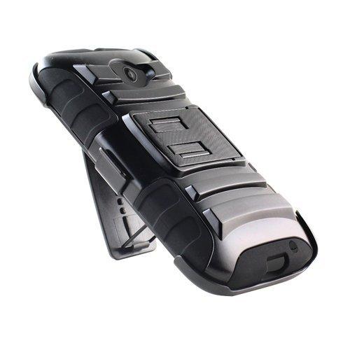 For Motorola Moto E LTE (2nd Gen 4.5'' LCD Model) XT1527 All Carriers GSM CDMA Sprint Verizon Cricket Boost Virgin Mobile etc... [SlickGears Heavy Duty Combat Armor Dual Layer Kickstand Belt Holster Case + Premium LCD Screen Protector (Black)