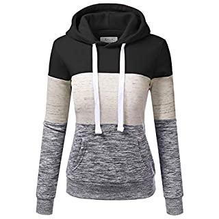 Doublju Basic Lightweight Pullover Hoodie Sweatshirt for Women Black M