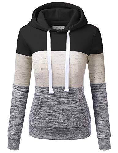 NINEXIS Basic Lightweight Pullover Hoodie Sweatshirt for Women Black L