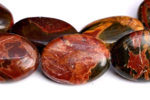 10x6mm Multicolor Picasso Jasper Flat Oval Grade Natural Loose Beads 7.5'' Crafting Key Chain Bracelet Necklace Jewelry Accessories Pendants ()