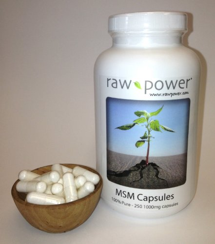 (MSM Capsules, 100% pure, Raw Power (250 v-caps, 1000mg each, made in the USA!))