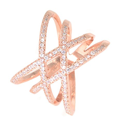 Rose Gold Double Criss Cross Ring CZ Pave Crossover Fashion Band Size 7 (Signity Zirconia Stone Cubic)