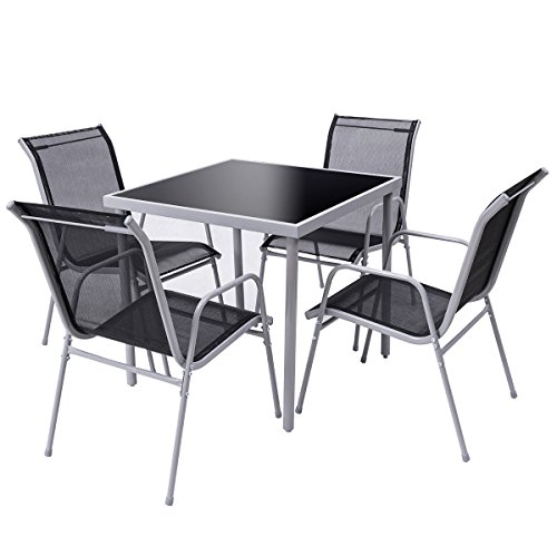 Terrace Server - Patio Bistro Set of 4 Chairs and Table Outdoor Garden Furniture Silver Black
