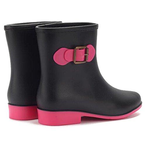 Highdas Botas de lluvia para mujer Señoras Wellies Low Slip On Botas de Wellington Caucho Lluvia Negro