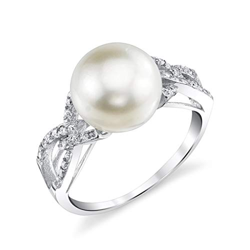 - THE PEARL SOURCE 10-11mm Genuine White Freshwater Cultured Pearl & Cubic Zirconia Opera Ring for Women