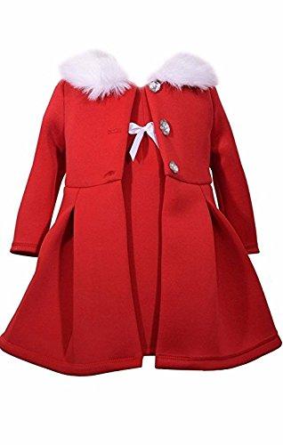 Bonnie Jean 2 Pc Christmas Dress Coat Set Red Faux Fur Trimming, Size 6