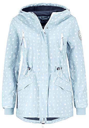 Sublevel Damen Softshell-Jacke Kurzmantel mit Kapuze & Print