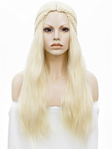 [Imstyle Long Natural Synthetic Hair Wig with Braids Off-White Women Full Wig with Caps] (Daenerys Targaryen Costume Hair)