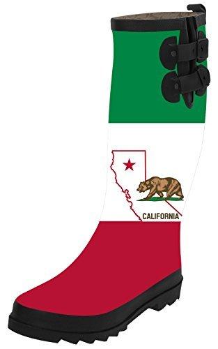 TA-TA FROG California Republic Fashion Women's Top Solid Rain Knee High Boots Waterproof Tall Rainboots 40