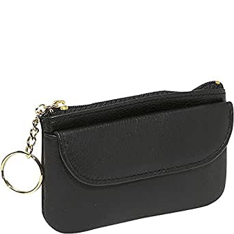 Budd Leather Zippered Coin Purse With Key Ring (Black)