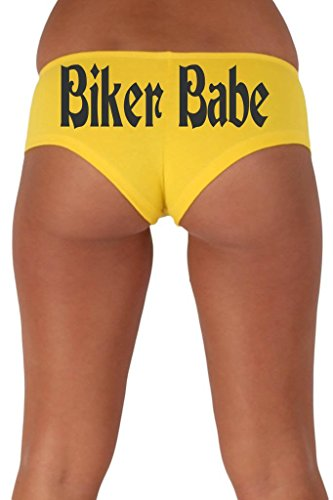 [Women's Juniors Black Biker Babe Booty Shorts: YELLOW MEDIUM] (Biker Babe Costume)