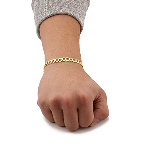 """LoveBling 10K Yellow Gold 7mm 8"""" Solid Pave Two-Tone Curb Chain Bracelet with White Gold Pave Diamond Cut, with Lobster Lock"""