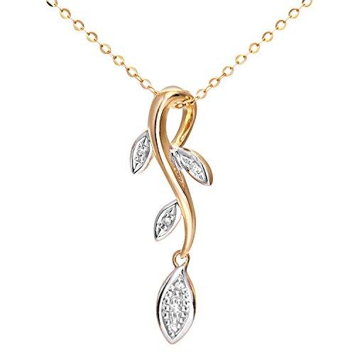 Revoni Bague en or jaune 9carats Diamant Pendentif avec chaîne 46cm en design feuille pendantes